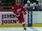 Johan Franzen skates across the blue line.