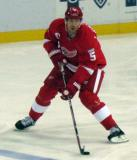 Nicklas Lidstrom carries the puck out of the Detroit zone.