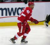 Henrik Zetterberg skates through the neutral zone.