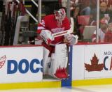 Jimmy Howard steps onto the ice to start the third period.