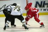 Pavel Datsyuk takes a faceoff against Dallas' Michael Ryder.