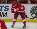 Henrik Zetterberg gets set for a faceoff.