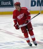 Justin Abdelkader skates at center ice during pre-game warmups.