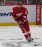 Johan Franzen skates at center ice during pre-game warmups.