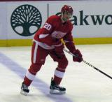 Drew Miller skates at the blue line during pre-game warmups.