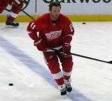 Danny Cleary skates along the blue line during pre-game warmups.