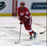 Johan Franzen skates near center ice during pre-game warmups.