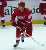 Johan Franzen skates during pre-game warmups.