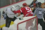 Jonathan Ericsson an Anaheim's Corey Perry tangle in a short fight.
