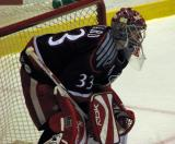 Jimmy Howard crouches in goal in a game between the Grand Rapids Griffins and Toronto Marlies.