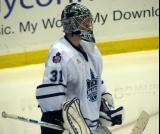 Goaltender Jean-Francois Racine of the Toronto Marlies gets set at the top of his crease.