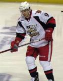 Francis Pare follows a puck during pre-game warmups before a Grand Rapids Griffins game.