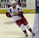 Brian Lashoff skates along the blue line during pre-game warmups before a Grand Rapids Griffins game.