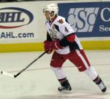Nathan Paetsch skates through the right faceoff circle during pre-game warmups before a Grand Rapids Griffins game.