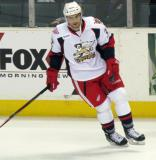 Brian Lashoff turns along the boards during pre-game warmups before a Grand Rapids Griffins game.