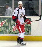 Brendan Smith looks across the ice during pre-game warmups before a Grand Rapids Griffins game.