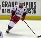 Landon Ferraro skates during pre-game warmups before a Grand Rapids Griffins game.