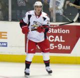 Tomas Jurco stands near the boards during pre-game warmups before a Grand Rapids Griffins game.
