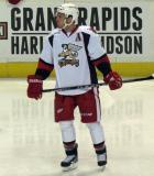 Nathan Paetsch skates slowly during a stoppage in play in a Grand Rapids Griffins game.