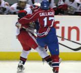 Brendan Gallagher of the Hamilton Bulldogs runs over a Grand Rapids Griffin.