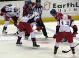 Joakim Andersson of the Grand Rapids Griffins lines up for a faceoff against Darryl Boyce of the Hamilton Bulldogs.  Tomas Tatar and Gustav Nyquist flank Andersson while Mike Blunden is to Boyce's right.