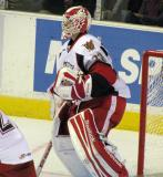 Tom McCollum looks through traffic from his crease in a Grand Rapids Griffins game.