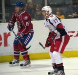 Max Nicastro of the Grand Rapids Griffins shadows Kyle Hagel of the Hamilton Bulldogs.