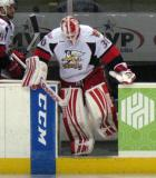 Tom McCollum leads the Grand Rapids Griffins onto the ice for the third period.