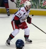 Landon Ferraro watches for an oncoming shot during a Grand Rapids Griffins game.