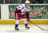 Nathan Paetsch gets set for a faceoff in a Grand Rapids Griffins game.