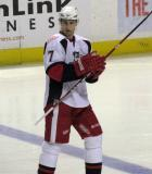 Brendan Smith looks over his shoulder during a stop in play in a Grand Rapids Griffins game.