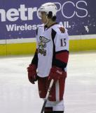 Mitch Callahan looks towards the bench during a stop in play in a Grand Rapids Griffins game.