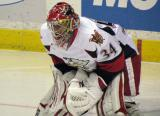 Petr Mrazek gets set in his crease to start the second period of a Grand Rapids Griffins game.