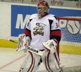 Petr Mrazek stands in his crease during a stop in play in a Grand Rapids Griffins game.