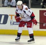 Brendan Smith lines up for a faceoff in a Grand Rapids Griffins game.