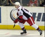 Gustav Nyquist skates along the boards during a Grand Rapids Griffins game.
