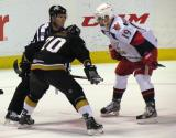 Riley Sheahan lines up for a faceoff against Cody Eakin in a game between the Grand Rapids Griffins and the Texas Stars.