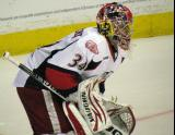 Petr Mrazek gets set for a faceoff during a Grand Rapids Griffins game.