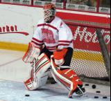 "Michael Leighton gets set in the crease during pre-game warmups prior to the ""Rock Out the Lockout"" charity game."