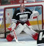 "Jimmy Howard set to face a shot during pre-game warmups prior to the ""Rock Out the Lockout"" charity game."