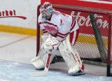 "Jonas Gustavsson crouches in the crease during pre-game warmups prior to the ""Rock Out the Lockout"" charity game."
