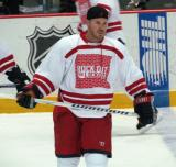 "James Wisniewski skates near the blue line during pre-game warmups prior to the ""Rock Out the Lockout"" charity game."