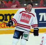 "Thomas Vanek skates during pre-game warmups prior to the ""Rock Out the Lockout"" charity game."