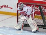 "Jonas Gustavsson gets set in his crease during pre-game warmups prior to the ""Rock Out the Lockout"" charity game."