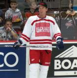 "Mikael Samuelsson stands along the boards during pre-game warmups prior to the ""Rock Out the Lockout"" charity game."