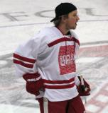 "Justin Abdelkader stands at center ice during pre-game warmups prior to the ""Rock Out the Lockout"" charity game."