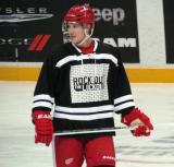 "Cory Emmerton waits for a faceoff during the ""Rock Out the Lockout"" charity game."