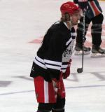 "Darren Helm lines up for a faceoff during the ""Rock Out the Lockout"" charity game."