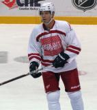 "Mikael Samuelsson skates back to the bench during a stop in the ""Rock Out the Lockout"" charity game."