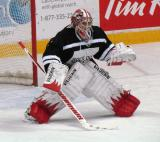 "Jimmy Howard sets set for an incoming shootout attempt during the ""Rock Out the Lockout"" charity game."
